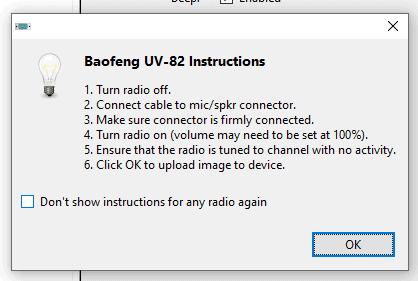 Programming Baofeng UV-82 on windows 10