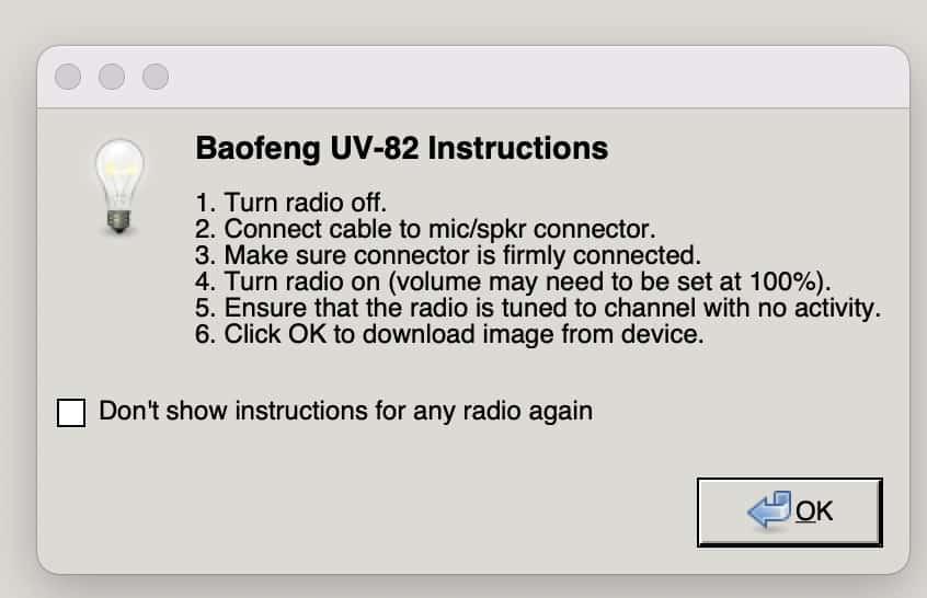 How to program baofeng UV-82 on mac
