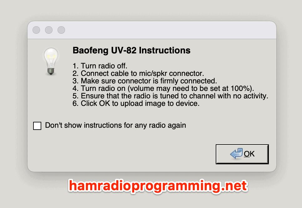 Baofeng UV-82 programming from mac