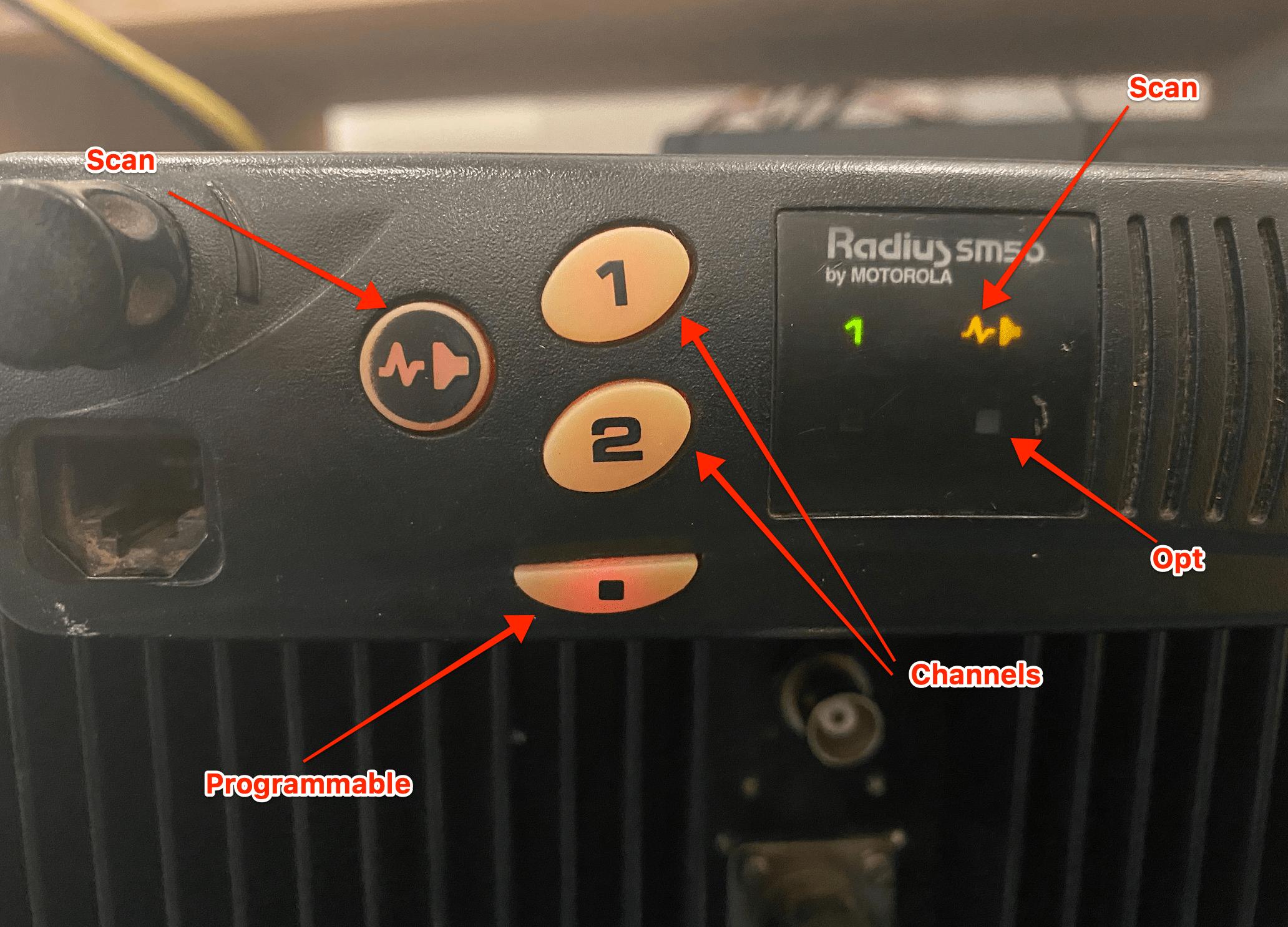 Motorola SM50 specifications - front panel