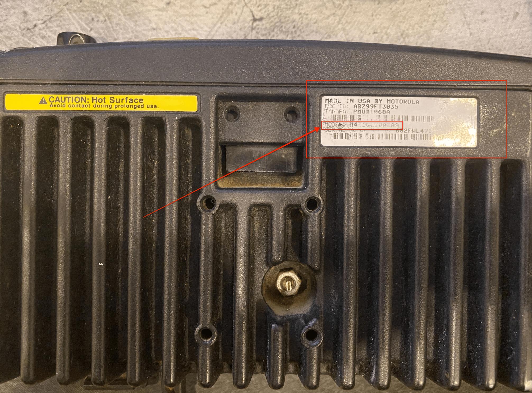 Motorola SM50 specifications - model identification