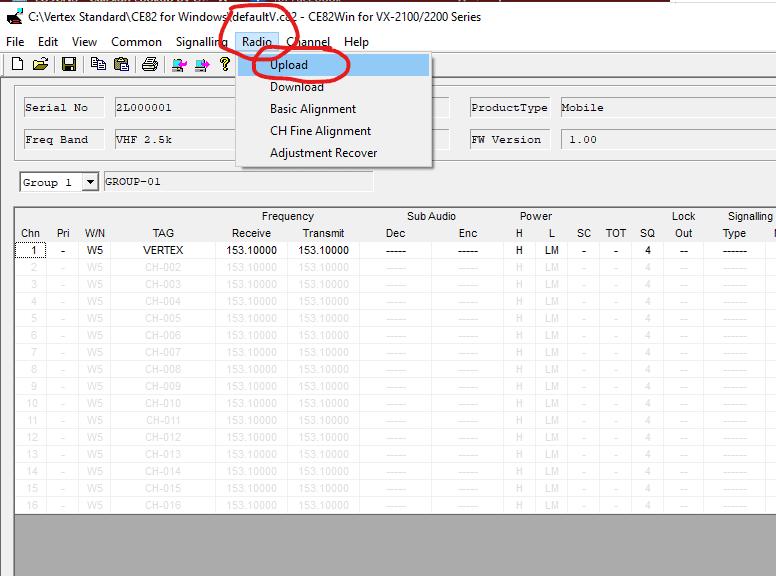 How to program Vertex VX-2100 - upload configuration