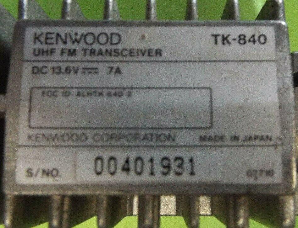 Kenwood TK-840 specifications - label