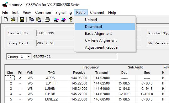 how to program vertex vx-2200 - writing configuration